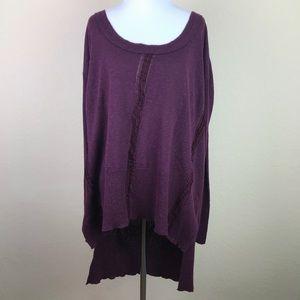 Free People High Low Tunic Sweater Purple Large